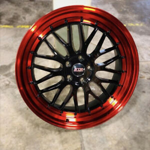 18x9 5x108 Str 601 Black Face Red Lip Made For Ford Volvo