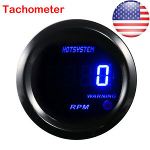 Hotsystem Car 2 Blue Digital Led Elec 0 9999 Rpm Tachometer Tacho Gauge 2019 Us