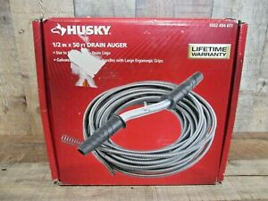 Husky 50 Ft Drain Auger Plumbing Snake Clog Cable 1 2 In Sewer Pipe Cleaner