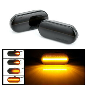 2x Dynamic Smoked Led Side Marker Signal Lights For Vw Golf Mk4 Jetta Gti R32