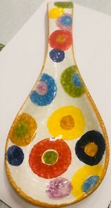 Deruta pottery: Spoonrest With New Circle Pattern .Made Painted by hand Italy