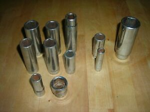 Lot Of 11 Assorted Matco Sockets Six Point Chrome Used