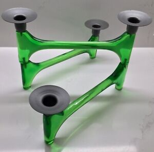 Rare Vintage Mid Century Modern Mcm Green Lucite Folding 4 Candle Holder