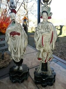 Vintage Pair Oriental Chalkware Hollywood Regency Table Lamps Figural Quan Yin