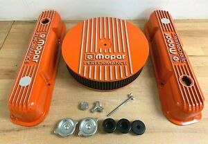 Mopar 340 Orange Valve Covers Air Cleaner Kit With Oil Caps And Grommets