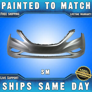 New painted Sm Radiant Silver Front Bumper Cover For 2011 2013 Hyundai Sonata