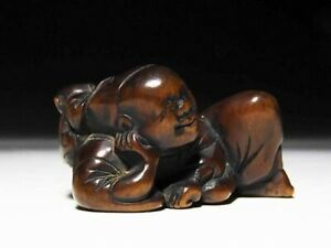 Japan Antique Edo Period Okina Monkey Child Netsuke Wood Inro Ojime Sagemono