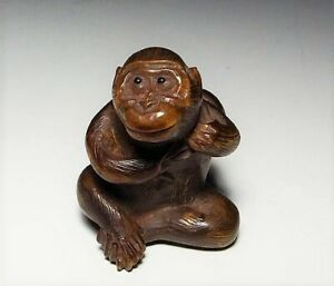 Edo Period Japan Antique Wooden Monkey Hyoutan Netsuke Inro Ojime Sagemono