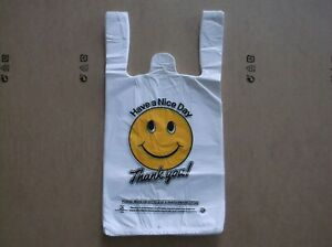 815 Ct plastic Shopping Bags t Shirt Type Grocery Happy Face White Small Size