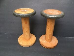 Two Vintage Industrial Wood Spools Spindles 9 5 High For Candlesticks Display
