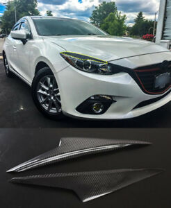 2 for Mazda 3 Axela 2014 2016 Real Carbon Fiber Eyebrows Eyelid Headlight Cover
