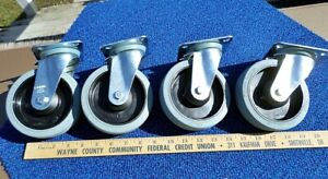 Set Of Four Swivel Casters Blickle Non Marking Rubber Tires