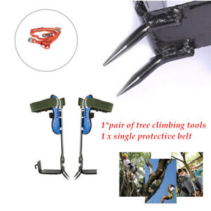 Stainless Steel Tree Climbing Spike Spurs safety Belt Straps Rope 100kg Loading