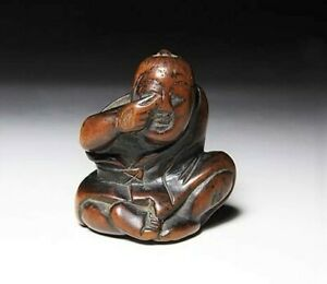 Japan Antique Netsuke Wooden Mischievous Boy Edo Era Inro Ojime Sagemono Rare