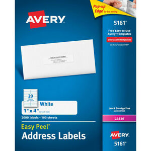 Superior Adhesion Avery Easy Peel 1x4 White Mailing Labels Address 2000 Count