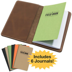 Stitched Leather Journal Notebook Cover With 5 Journals 5x8 Medium