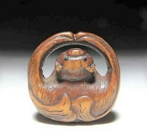 Japan Antique Edo Period Bat Netsuke Wood Inro Ojime Sagemono Rare