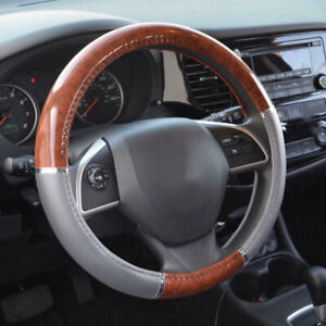 Wood Grain Car Steering Wheel Cover For Auto Car Suv Lux Grip Gray Syn Leather
