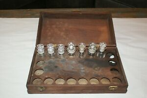 Antique Pharmacy Apothecary Medicine Bottles 7 Bottles With Wood Case
