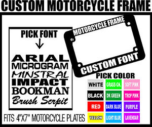 Red Custom Font Motorcycle Custom Personalized License Plate Frame Color