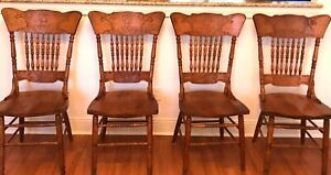 Vintage Oak Pressed Back Dining Chairs Original Very Good Condition