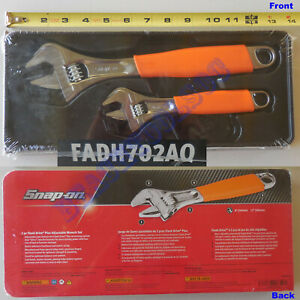 New Snap On Orange Cushion Flank Drive Plus Adjustable Wrench 2 Pcs Set Fadh702a