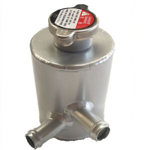 Aluminum Radiator Coolant Overflow Tank Bottle With Cap Silver