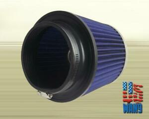 4 Inch Chrome Inlet Short Ram Cold Air Intake Round Cone Air Filter Blue Kn Type