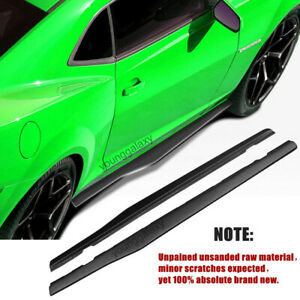 Unpained Side Skirts Body Kit Fits 10 15 Chevy Camaro Luxury Sports Style Black