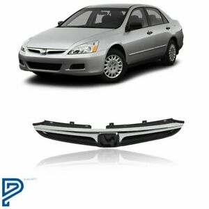 Fit For Honda Accord Sedan 2006 2007 Front Upper Grille Chrome Trim 2pcs