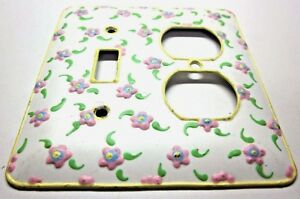Funky 2 Gang Combo Switch Outlet Wall Plate Cover 1 Hand Painted Floral