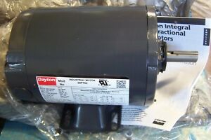 New Dayton 1 Hp Electric Motor 56 Frame 208 230 460 Vac 3450 Rpm 3 30pt92 W key
