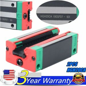 2pcs Hgh20ca Carriage Rail Block Slider For Linear Rail Guide Way Cnc Us Stock