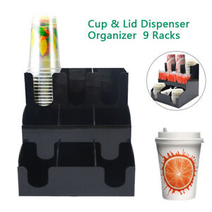 Disposable Cup Lid Dispenser Holder Coffee Condiment Caddy Cup Rack Organizer Us