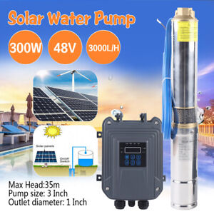 300w Solar Submersible Deep Well Water Pump With Mppt Controller 3000l h Head35m