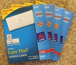 Lot Of 4 Avery 5160 Easy Peel Laser Labels 1 X 2 5 8 3000 Ea 12000 Total