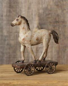 New Primitive Country Folk Art Vintage Antique Style Horse On Wheels Figurine