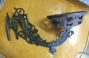 Antique Cast Iron Wall Oil Lamp Lantern Holder Sconce Dated June 7 1881