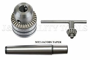 Mini Metal Lathe Tail Stock Drill Chuck Tool With Mt2 Morse Taper Arbor Mt 2
