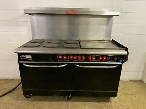 Vulcan Electric 6 Burner 24 Inch Flat Grill 2 Full Size Ovens 208 3 Phase Tested