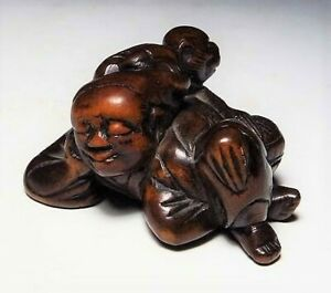 Japan Antique Edo Period Comedian Monkey Netsuke Wood Inro Ojime Sagemono Rare