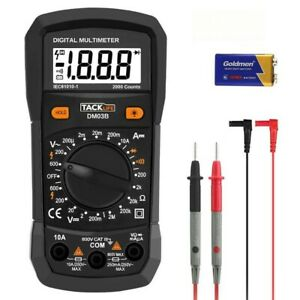 Tacklife Lcd Digital Multimeter Ac Dc Amp Volt Ohm Meter Diode Continuity Tester