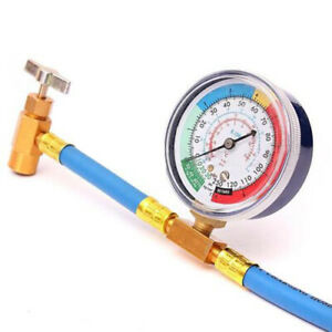 Pro R 134 R134a Ac Refrigerant Recharge Hose Can Tap gauge W Brass Fitting New