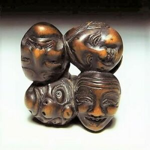 Japan Antique Edo Period Okame Hyokkoto Netsuke Signed By Juzan Wood Sagemono