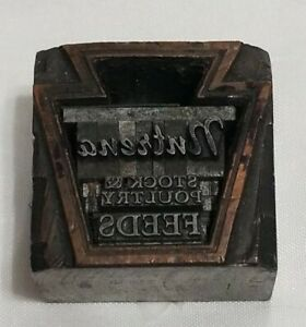 Vintage Nutrena Stock And Poultry Feeds Metal Letterpress Printing Block