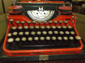Rare Red 1920s Underwood Four Bank Portable Typewriter Keyboard Antique Nice Rar