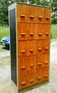 Vintage Maple 20 Drawer Wall Pantry Cupboard 1950s Era