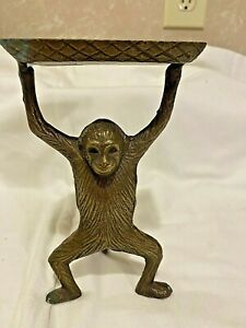 Vintage Monkey Business Brass Bronze Card Holder Soap Dish Desk Trinket Tray