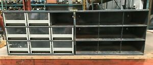 Lot 2 Metal Supply Cabinet W 9 Drawer Slots 8 Drawers Incl 17 x11 x11