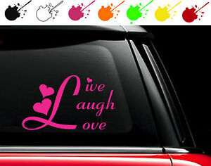 Live Laugh Love Vinyl Car Truck Decal Sticker Country Girl Hearts Look Pretty